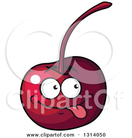 Clipart of a Cartoon Goofy Cherry Character - Royalty Free Vector Illustration by Vector Tradition SM