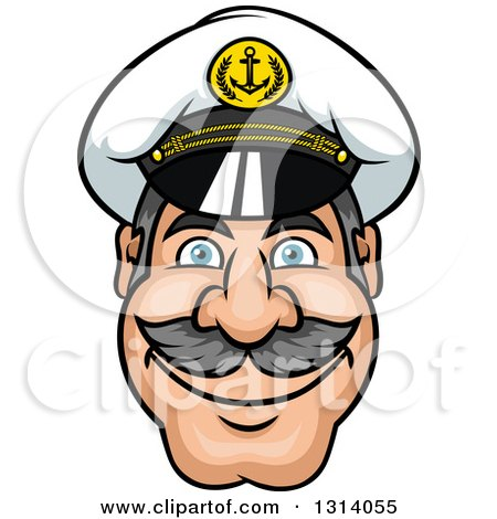 Clipart of a Cartoon Smiling Mustached Captain's Face - Royalty Free Vector Illustration by Vector Tradition SM