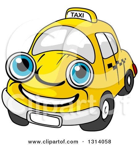 Clipart of a Cartoon Happy Blue Eyed Yellow Taxi Cab Character - Royalty Free Vector Illustration by Vector Tradition SM