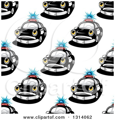 Clipart of a Seamless Police Car Character Pattern Background - Royalty Free Vector Illustration by Vector Tradition SM
