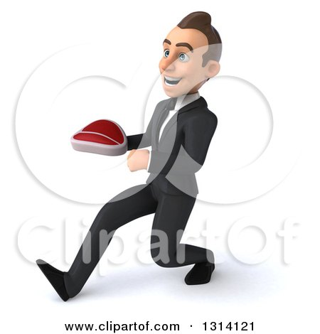 Clipart of a 3d Happy Young White Businessman Speed Walking to the Left and Holding a Beef Steak - Royalty Free Illustration by Julos