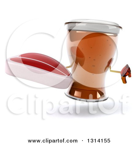 Clipart of a 3d Beer Mug Character Giving a Thumb down and Holding a Beef Steak - Royalty Free Illustration by Julos