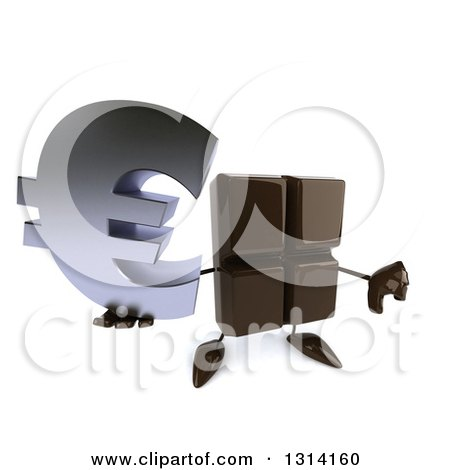 Clipart of a 3d Chocolate Candy Bar Character Holding up a Euro Symbol and a Thumb down - Royalty Free Illustration by Julos