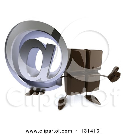 Clipart of a 3d Chocolate Candy Bar Character Holding up an Email Arobase at Symbol and Thumb - Royalty Free Illustration by Julos