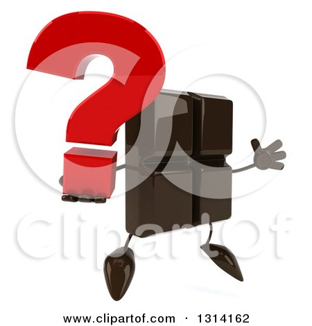 Clipart of a 3d Chocolate Candy Bar Character Facing Slightly Right, Jumping and Holding a Question Mark - Royalty Free Illustration by Julos