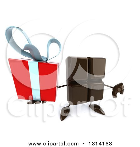 Clipart of a 3d Chocolate Candy Bar Character Holding up a Gift and a Thumb down - Royalty Free Illustration by Julos
