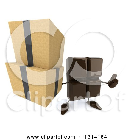 Clipart of a 3d Chocolate Candy Bar Character Holding up Boxes and a Thumb - Royalty Free Illustration by Julos