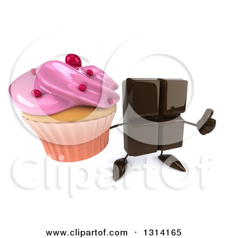 Clipart of a 3d Chocolate Candy Bar Character Holding up a Thumb and a Pink Frosted Cupcake - Royalty Free Illustration by Julos
