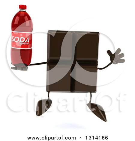 Clipart of a 3d Chocolate Candy Bar Character Jumping and Holding a Soda Bottle - Royalty Free Illustration by Julos