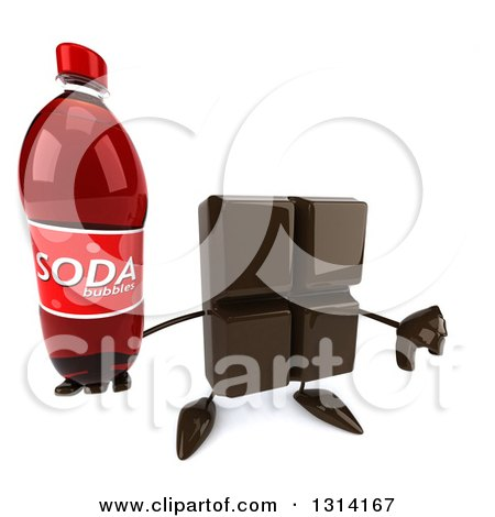 Clipart of a 3d Chocolate Candy Bar Character Holding up a Thumb down and a Soda Bottle - Royalty Free Illustration by Julos