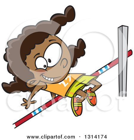 Clipart of a Happy Black Track and Field Black Girl Doing the High Jump - Royalty Free Vector Illustration by toonaday