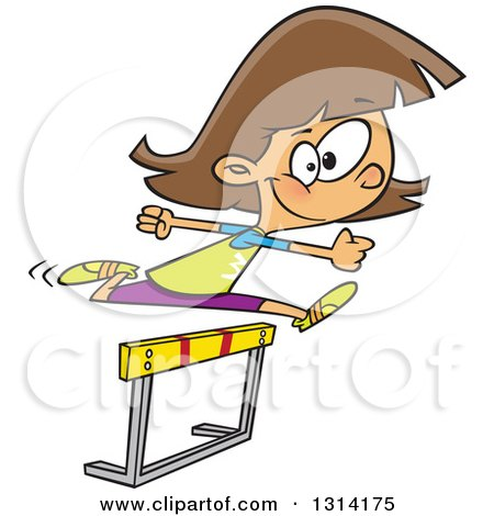 Clipart of a Track and Field Brunette White Girl Leaping a Track Hurdle - Royalty Free Vector Illustration by toonaday