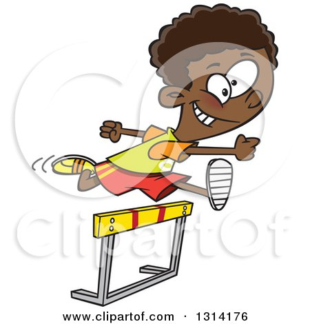 Clipart of a Track and Field Black Boy Leaping a Track Hurdle - Royalty Free Vector Illustration by toonaday