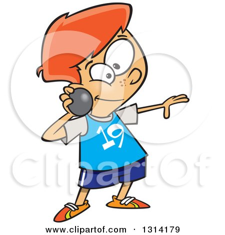 Clipart of a Track and Field Red Haired White Boy Throwing a Shot Put - Royalty Free Vector Illustration by toonaday