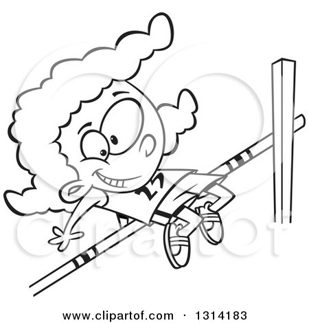 Lineart Clipart of a Black and White Happy Black Track and Field African Girl Doing the High Jump - Royalty Free Outline Vector Illustration by toonaday