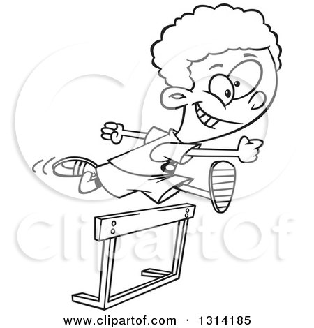 Lineart Clipart Of A Black And White Track And Field African Boy