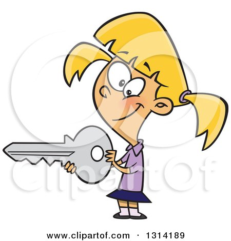 Clipart of a Cartoon Blond White Girl Holding a Big Key - Royalty Free Vector Illustration by toonaday