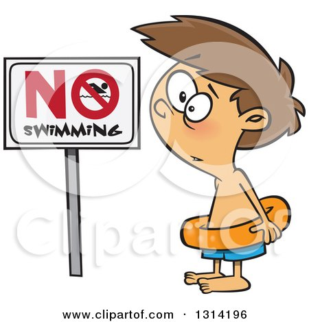 Clipart of a Cartoon Brunette White Boy Wearing an Inner Tube by a No Swimming Sign - Royalty Free Vector Illustration by toonaday