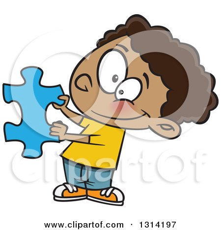 Clipart of a Cartoon Happy Black Boy Holding a Blue Puzzle Piece - Royalty Free Vector Illustration by toonaday