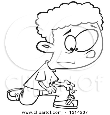 Lineart Clipart of a Black and White Cartoon Distressed African Boy with a Knot in His Shoe Laces - Royalty Free Outline Vector Illustration by toonaday