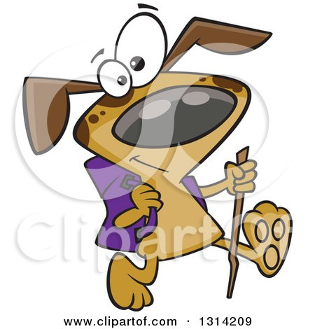 Clipart of a Cartoon Happy Brown Dog Hiking with a Stick and Pack - Royalty Free Vector Illustration by toonaday