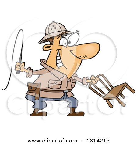Clipart of a Cartoon Brunette White Lion Tamer Man Holding a Whip and Chair - Royalty Free Vector Illustration by toonaday