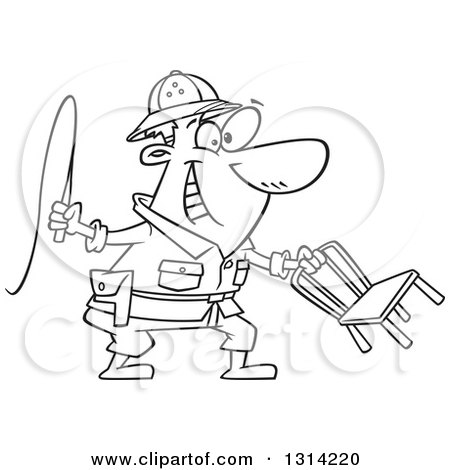 cartoon black and white lion tamer man holding a whip and chair