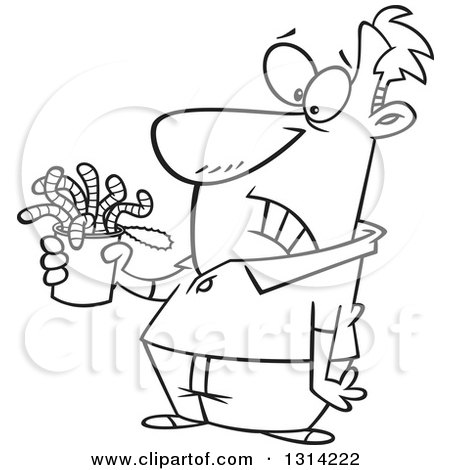 Lineart Clipart of a Cartoon Black and White Man Holding a Can of Worms - Royalty Free Outline Vector Illustration by toonaday