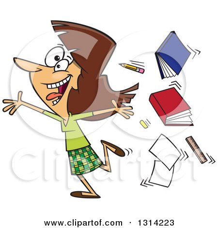 Clipart of a Cartoon Excited Brunette White Female Teacher Running Gleefully and Throwing up Books - Royalty Free Vector Illustration by toonaday