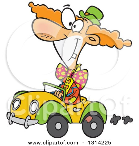 Clipart of a Cartoon Happy Cown Driving a Tiny Car - Royalty Free Vector Illustration by toonaday