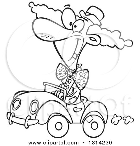 Outline Clipart of a Black and White Cartoon Happy Clown Driving a Tiny Car - Royalty Free Lineart Vector Illustration by toonaday