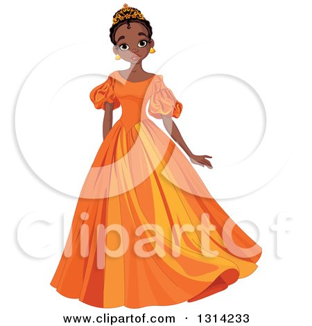 Clipart Of A Beautiful African Princess In An Orange Dress Royalty Free Vector Illustration
