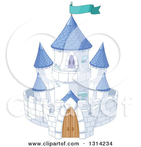 Clipart of a White Fantasy Fairy Tale Castle with Blue Turrets and a Turquoise Flag - Royalty Free Vector Illustration by Pushkin