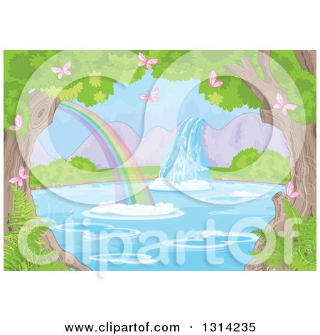 Clipart of a Fantasy Spring Time Landscape of a Waterfall and Rainbow at a Pond, with Pink Butterflies, Ferns and Trees - Royalty Free Vector Illustration by Pushkin