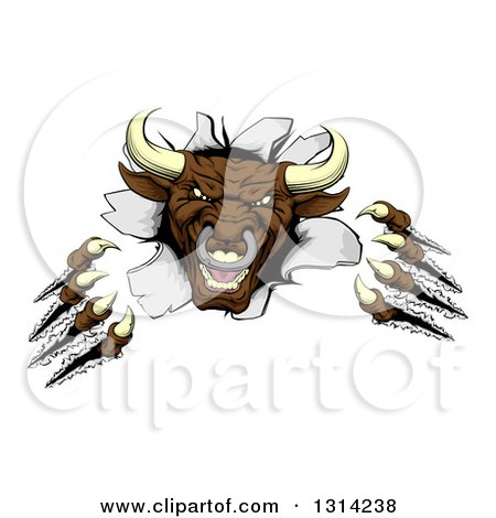 Clipart of a Mad Aggressive Clawed Bull Monster Slashing Through a Wall - Royalty Free Vector Illustration by AtStockIllustration