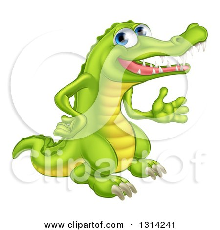 Clipart of a Happy Blue Eyed Crocodile Presenting to the Right - Royalty Free Vector Illustration by AtStockIllustration