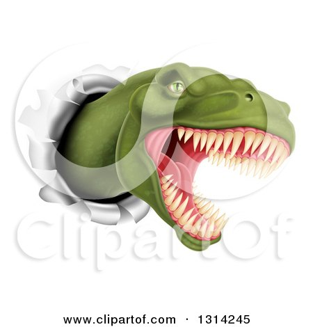 Clipart of a 3d Roaring Angry Green Tyrannosaurus Rex Dino Head Breaking Through a Wall - Royalty Free Vector Illustration by AtStockIllustration