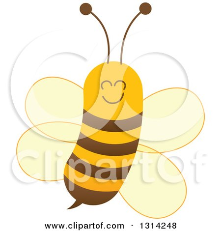 Clipart of a Cute Cartoon Happy Baby Bee - Royalty Free Vector Illustration by Zooco