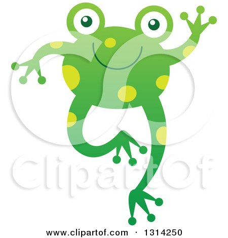 Clipart of a Cute Cartoon Happy Baby Frog Jumping and Waving - Royalty Free Vector Illustration by Zooco