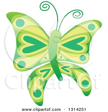 Clipart of a Cute Cartoon Green Baby Butterfly - Royalty Free Vector Illustration by Zooco