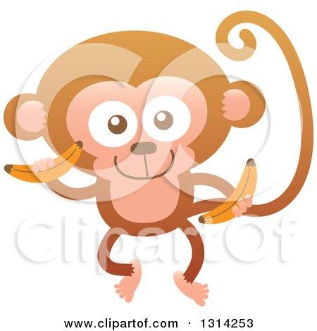 Clipart of a Cute Cartoon Happy Baby Monkey Holding Bananas - Royalty Free Vector Illustration by Zooco