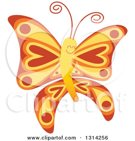 Clipart of a Cute Cartoon Red Yellow and Orange Baby Butterfly - Royalty Free Vector Illustration by Zooco