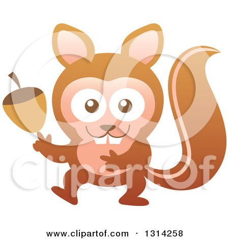 Clipart of a Cute Cartoon Baby Squirrel Holding an Acorn - Royalty Free Vector Illustration by Zooco