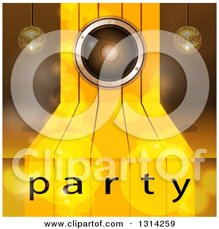 Clipart of a 3d Music Speaker on Gold Steps, with Suspended Disco Music Balls and Flares over Party Text - Royalty Free Vector Illustration by elaineitalia
