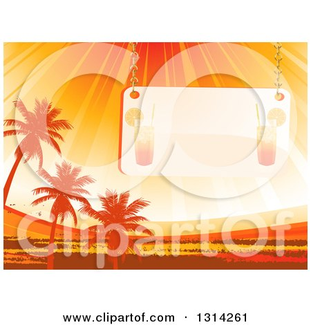 Clipart of a Faded Cocktail Sign Suspended over Orange Sun Rays, Palm Trees and Grunge - Royalty Free Vector Illustration by elaineitalia