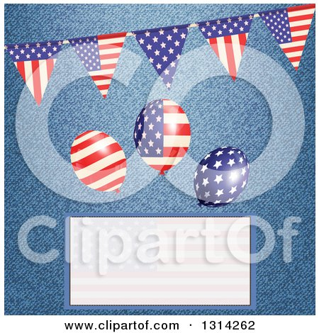 Clipart of a 3d American Flag Bunting Banner with Party Balloons over Denim and a Faded Text Box - Royalty Free Vector Illustration by elaineitalia