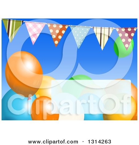 Clipart of a Background of Patterned Bunting Banners with Colorful Party Balloons and a Faded Text Box - Royalty Free Vector Illustration by elaineitalia