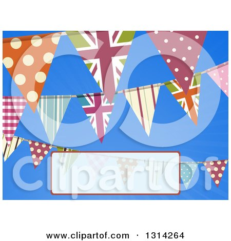 Clipart of a Background of Patterned Bunting Flag Banners over Blue Sky with a Faded Text Box - Royalty Free Vector Illustration by elaineitalia
