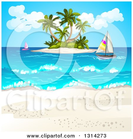 Clipart of a White Sand Beach with Sailboats and an Island - Royalty Free Vector Illustration by merlinul