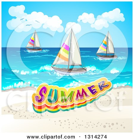 Clipart of a White Sand Beach with Sailboats and Summer Text - Royalty Free Vector Illustration by merlinul